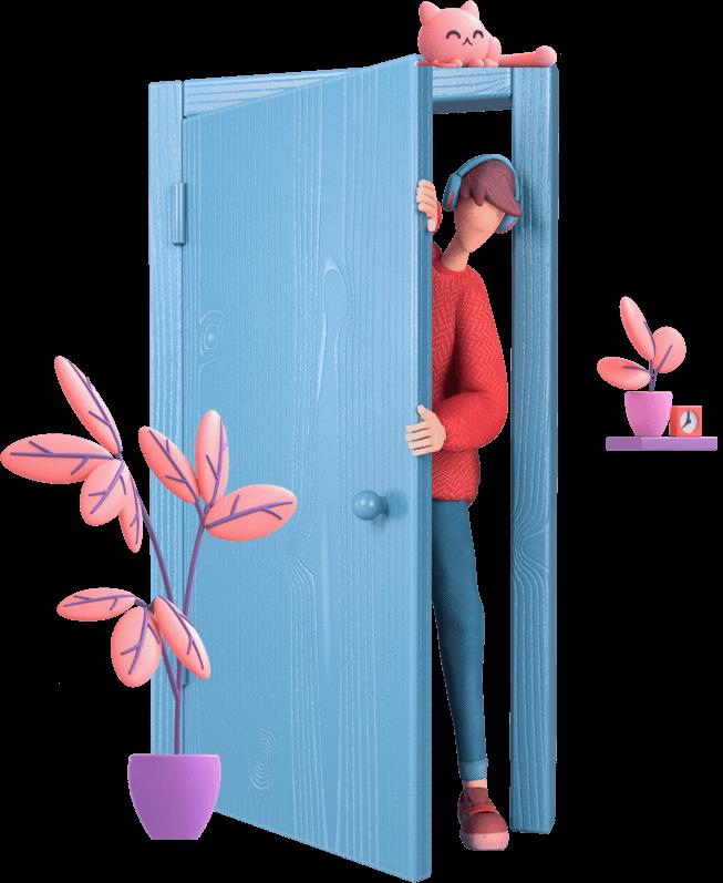 Character opening a door