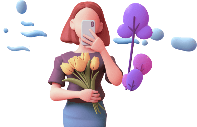 Character carrying flowers taking a picture with a smartphone