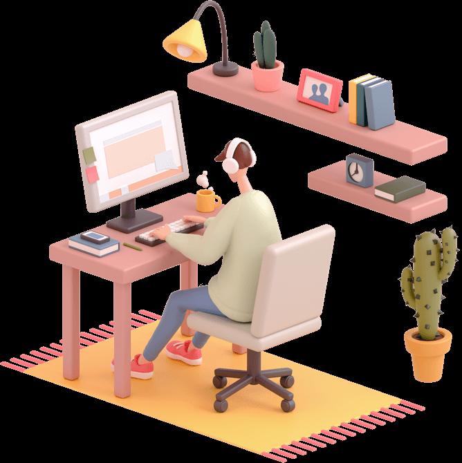 Character sat at a desk using a computer