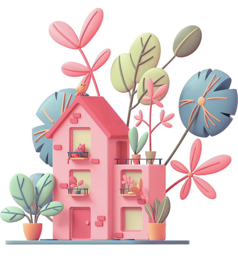 Cartoon drawing of a house