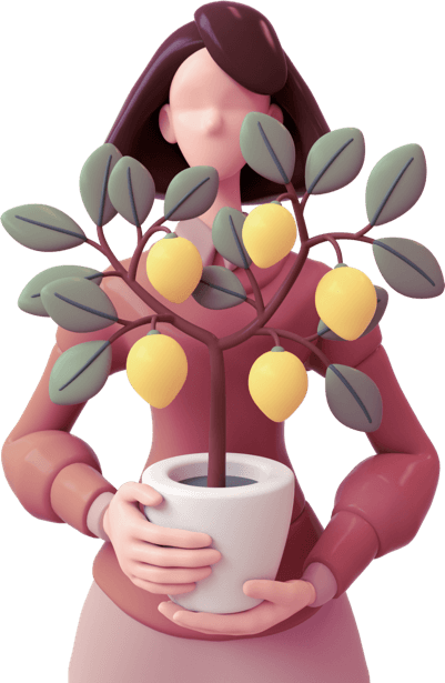 Cartoon woman holding a plant in a pot